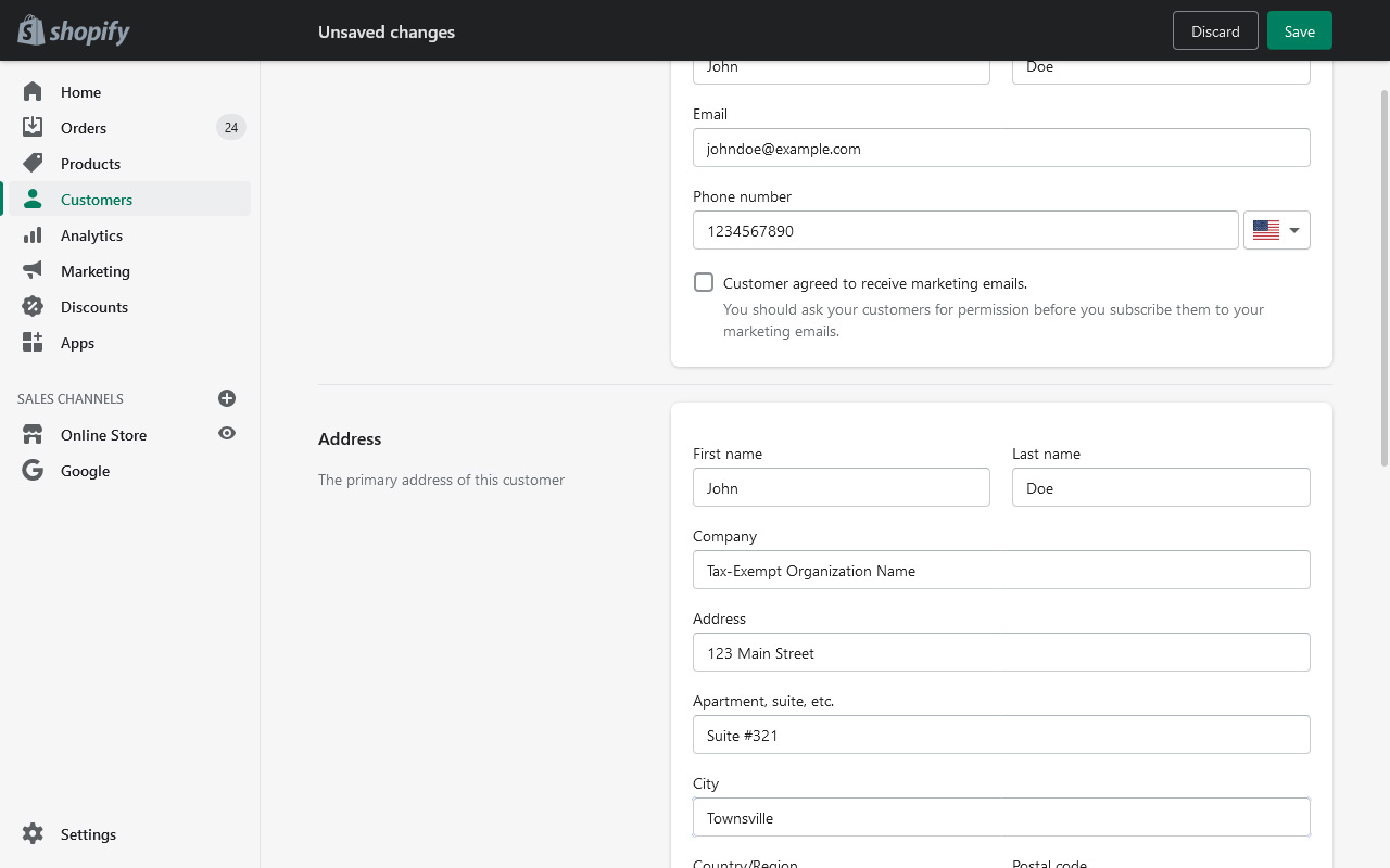 A screenshot of the Shopify interface for creating a new customer. Customer info has been filled out.