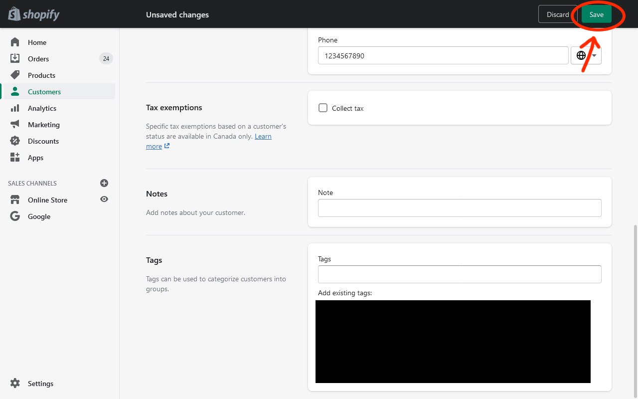 A screenshot of the Shopify interface for creating a new customer. An arrow is pointing to the save button.
